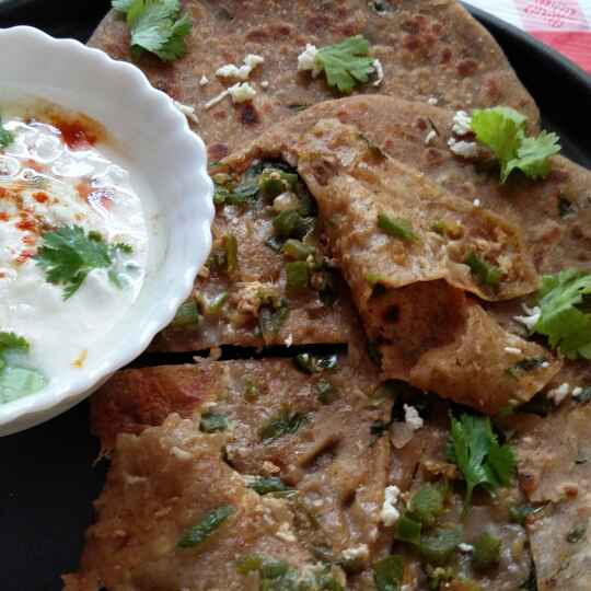 Photo of CAPSICUM PANEER WHOLE WHEAT AND RAAGI PARATHA by Jayanthy Asokan at BetterButter