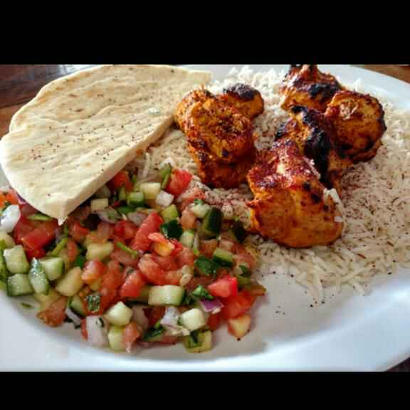 Photo of Middle Eastern chicken kabob platter by Jenice Martin at BetterButter
