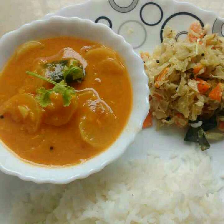 How to make Radish sambar and cabbage carrot poryal