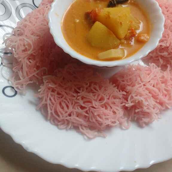 Photo of Beetroot idiyappam and radish kuruma by jeyaveni chinniah at BetterButter