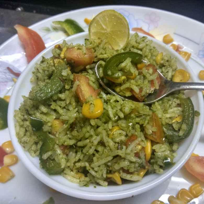Photo of Palak corn biryani by Jhanvi Chandwani at BetterButter