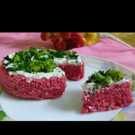 How to make રેડ વેલ્વેટ ઢોકળા કેક.