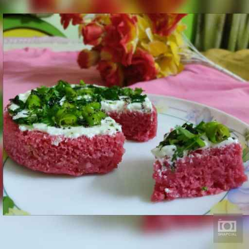 Photo of Red velvet dhokla cake by Jhanvi Chandwani at BetterButter