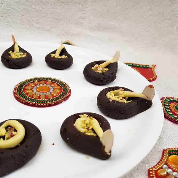 Photo of CHOCOLATE PEDA DIYAS by Kalai Rajesh at BetterButter