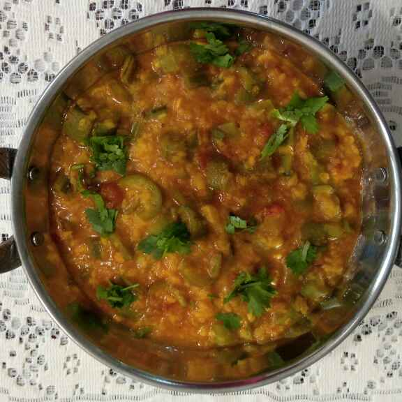 Photo of Galka ne moong ni dal nu shaak(Silk gourd and yellow lentil curry) by Dr.Kamal Thakkar at BetterButter