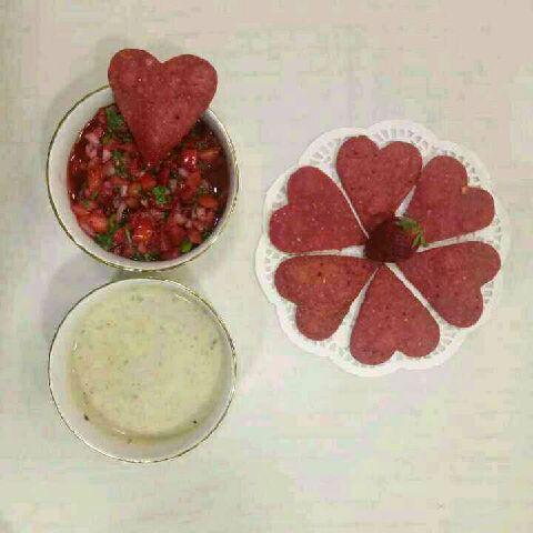 How to make Nacho hearts with strawberry salsa