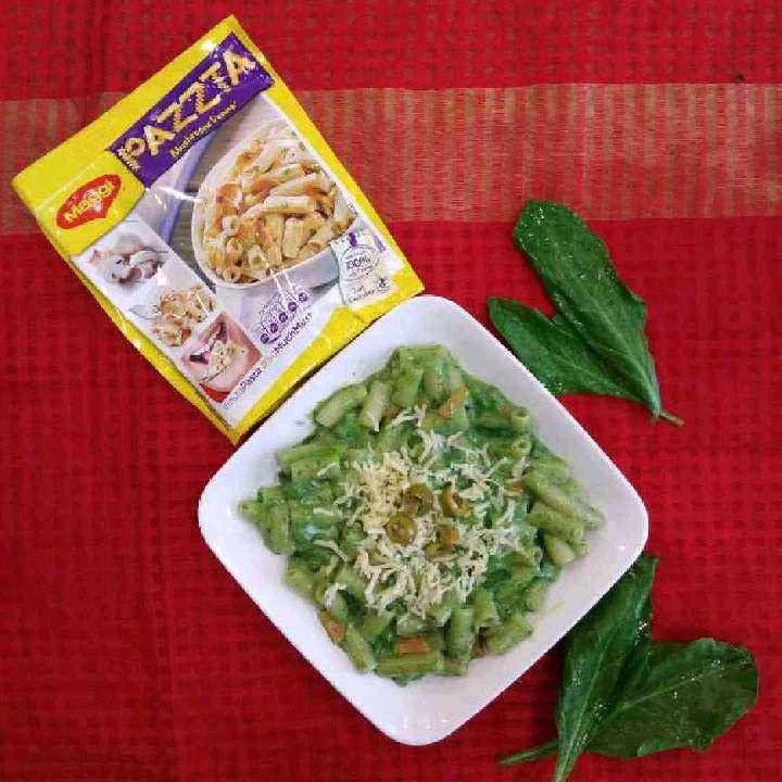 How to make Maggi mushroom pazzta in cheesy spinach