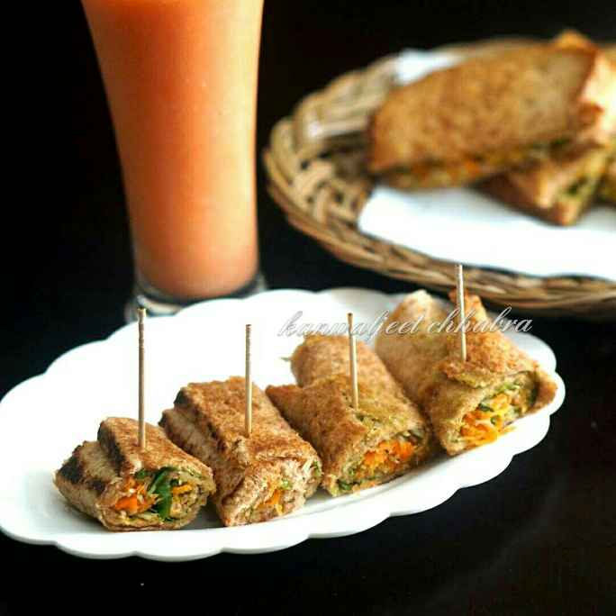 Photo of Carrot Bread Rolls ( pan fried) by Kanwaljeet Chhabra at BetterButter