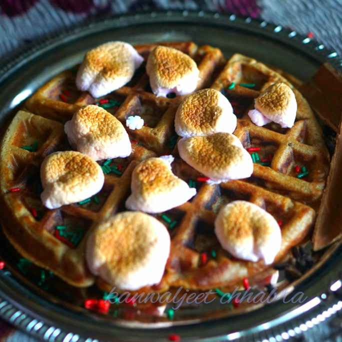 Photo of Ginger bread waffle with caramelised marshmallows by Kanwaljeet Chhabra at BetterButter