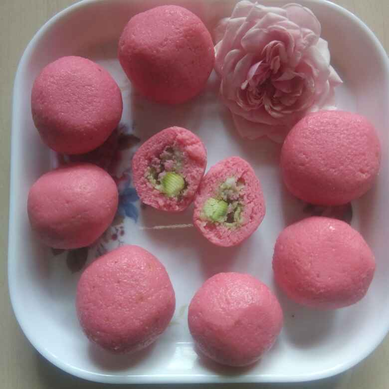 Photo of Strawberry flavour stuffed with dry fruits ball. by Kavi Nidhida at BetterButter