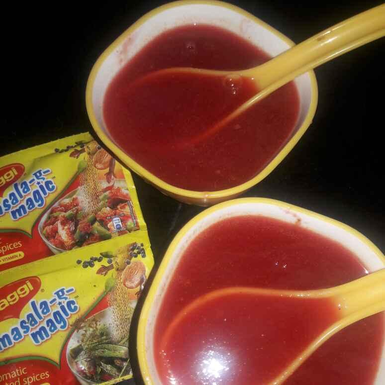 Photo of Beat root soup with maggi masala by Kiran Kherajani at BetterButter