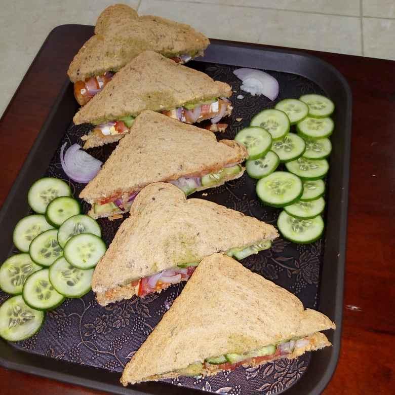 Photo of EGG ,chicken and veg multi grain sandwich by Krishnakumari Marupudi at BetterButter