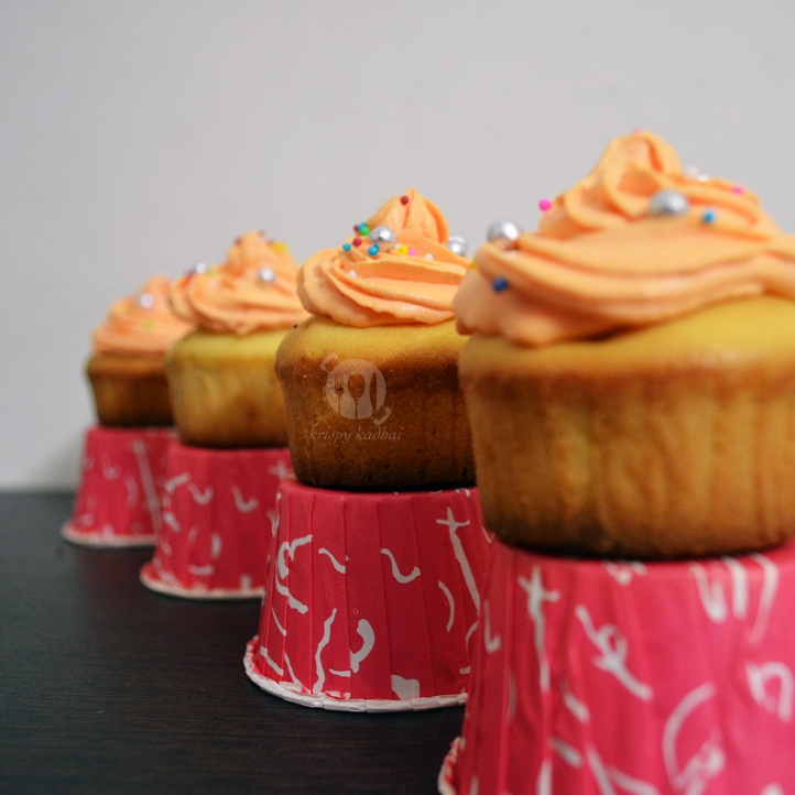 Photo of Vanilla Cupcakes with Peach Cream Cheese Frosting by Kriti Singhal at BetterButter