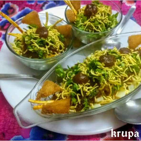 Photo of Bread croutons and fine potato chips chaat by Krupa Shah at BetterButter