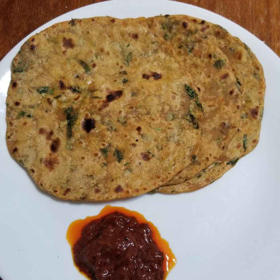 Photo of Fenugreek and spinach leaves paratha by Lalitha Kandala at BetterButter
