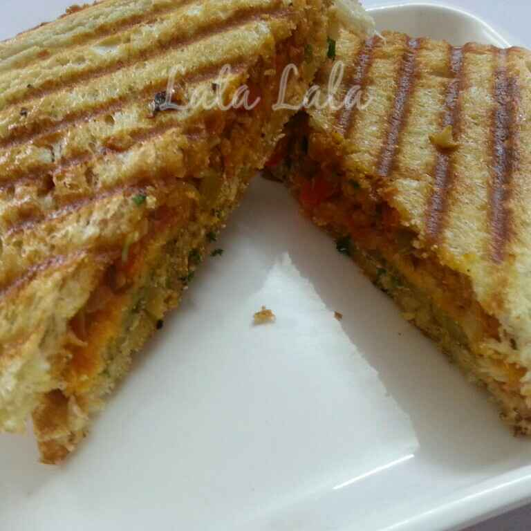 Photo of Hung Curd, vegetables and Oats sandwich by Lata Lala at BetterButter