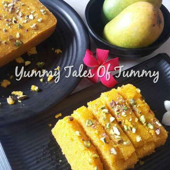 How to make सूजी और आम का केक