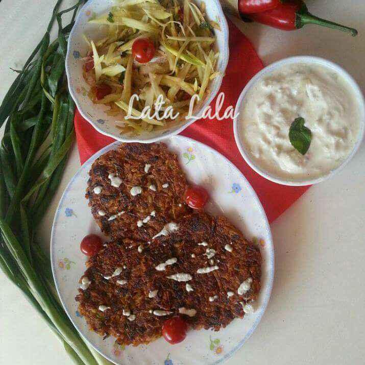 How to make Thai style Raw Papaya Roasti with hung curd Dip & Raw Papaya and raw mango Coleslaw Salad