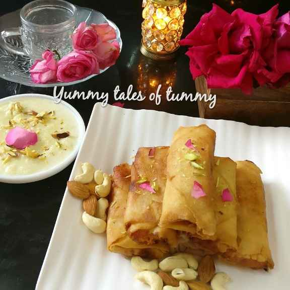 Photo of Gajar halwa spring rolls served with rabdi by Lata Lala at BetterButter