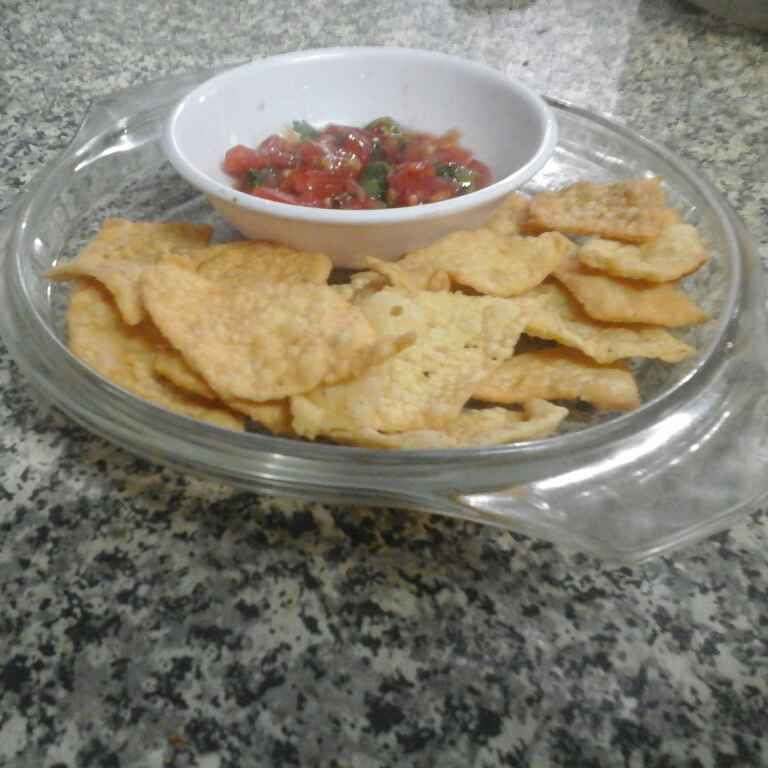 How to make Nacho Chips with Salsa.