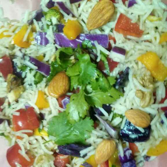 How to make Brown rice with veggies fruits and roasted nuts salad (very healthy option for reducing weight).