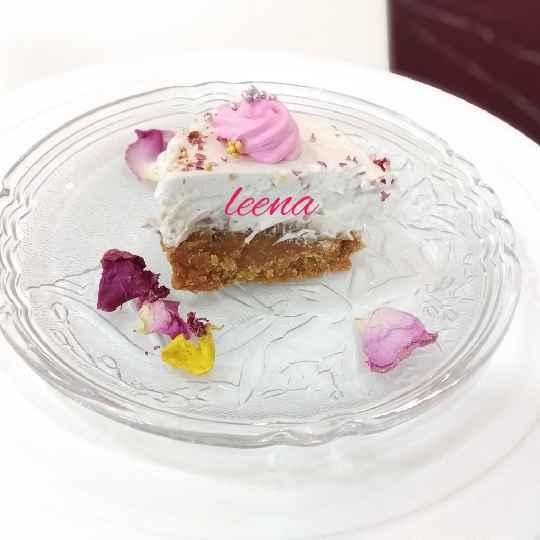 Photo of Mohanthal gulkand Vanilla Mousse Cake by Leena Sangoi at BetterButter