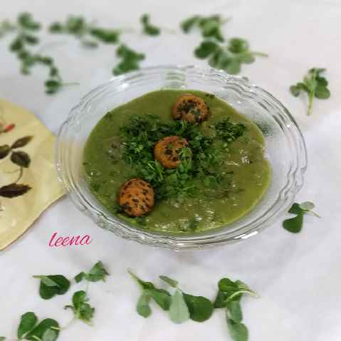 Photo of Hara Chana Coconut Curry With Oats Methi Muthiya  by Leena Sangoi at BetterButter
