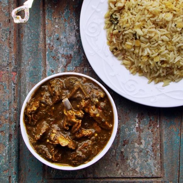 How to make Khatta Palak Gosht/Ambat Gosht