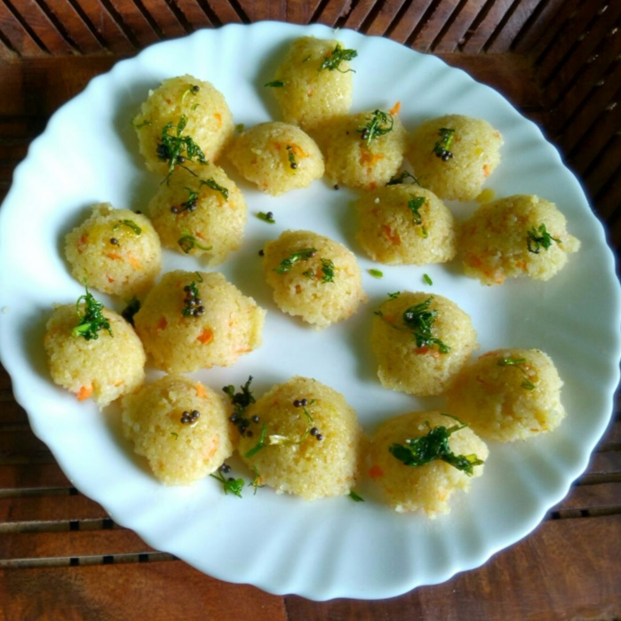 Photo of Sambar Flavoured Vegetable Mini Wheat Rawa Idlis by Lynette Dsouza at BetterButter