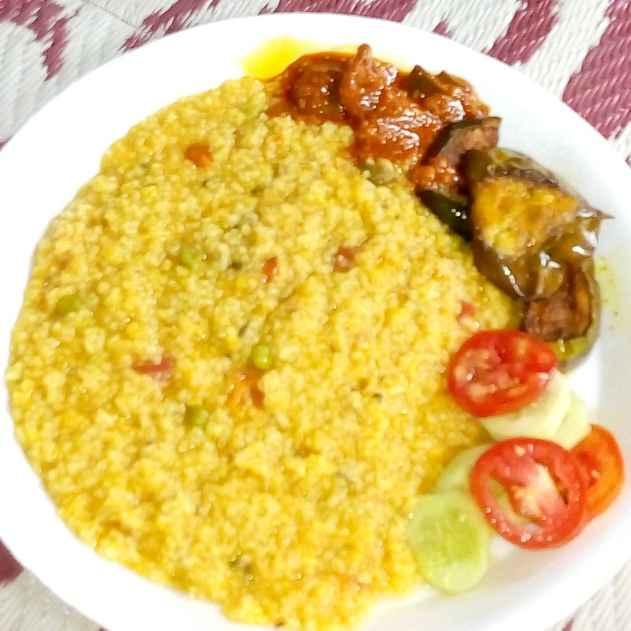 Photo of Khidchi,fried papad and baingan with salad by Mahua Nag at BetterButter