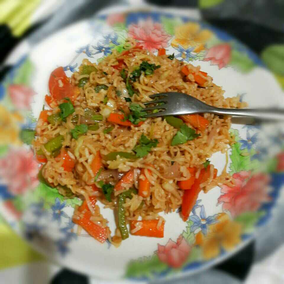 How to make Mongolian Stir Fried Veggies with Noodles and Rice