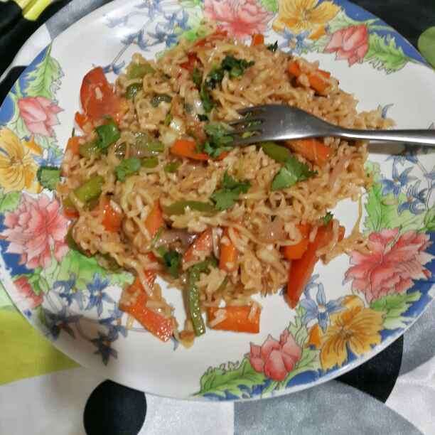 Photo of Mongolian Stir Fried Veggies with Noodles and Rice by Manisha Shukla at BetterButter