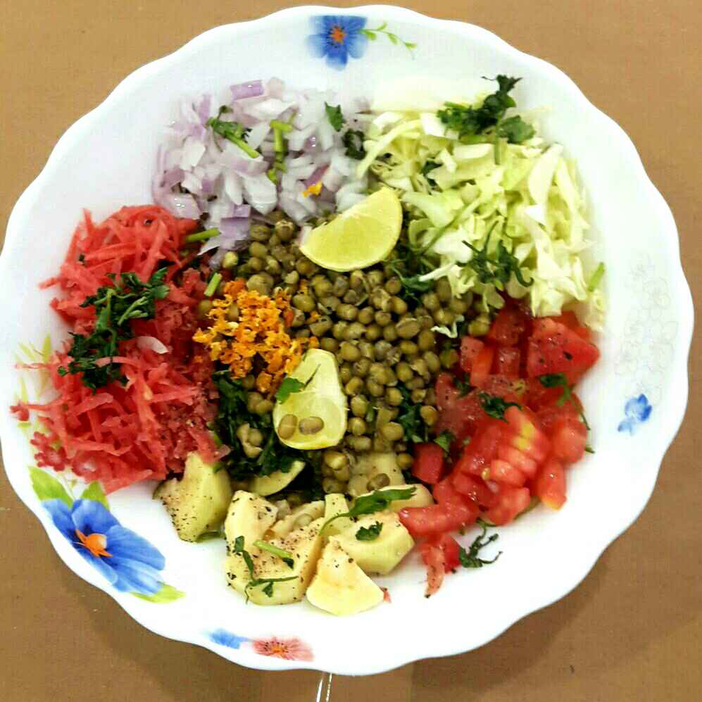 How to make Moong salad with veggies and fruits