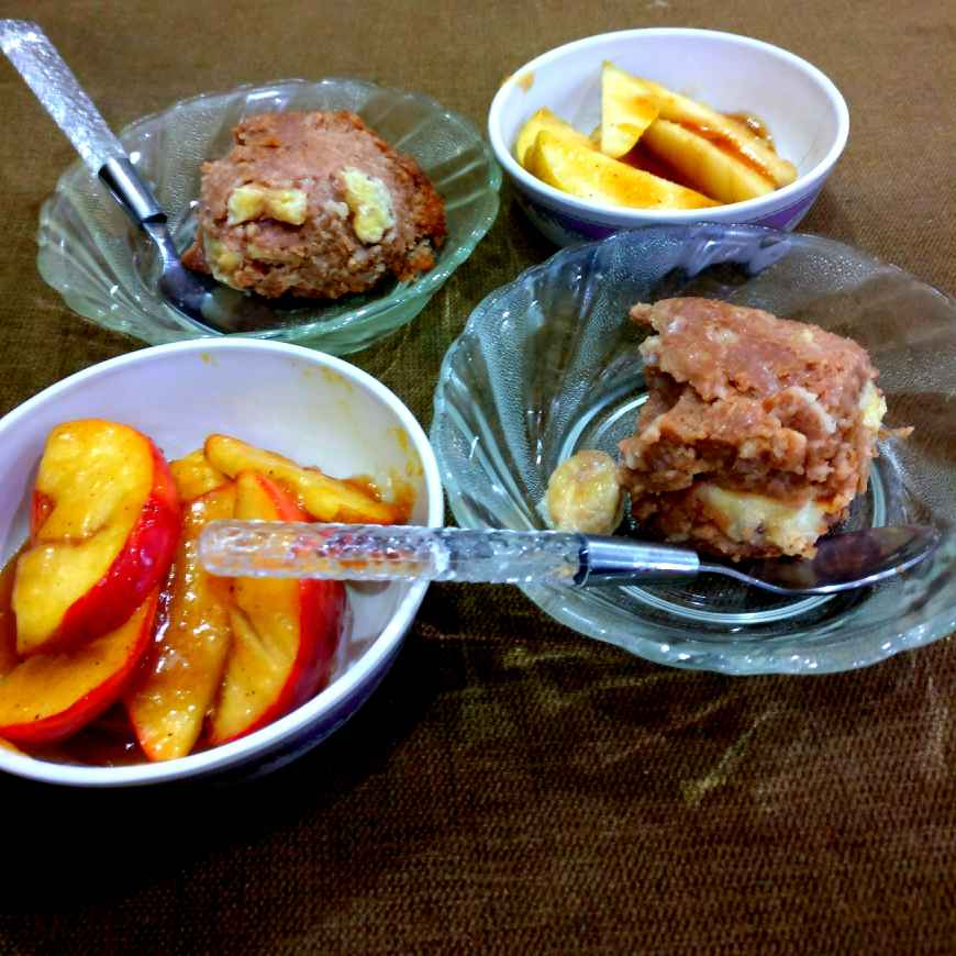 How to make Walnut, Banana, Cinnamon Oats Pudding with Caramelized Apple and Pear. ( A Luscious Desert)