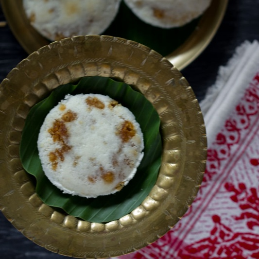 How to make Keteli Pitha | Tekeli Pitha, Assam Style (Steamed Rice Cakes with Coconut and Jaggery)