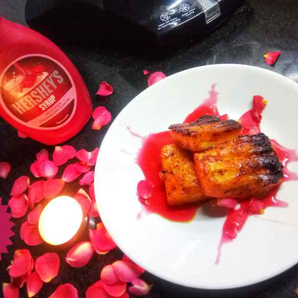 How to make Grilled paneer with strawberry syrup