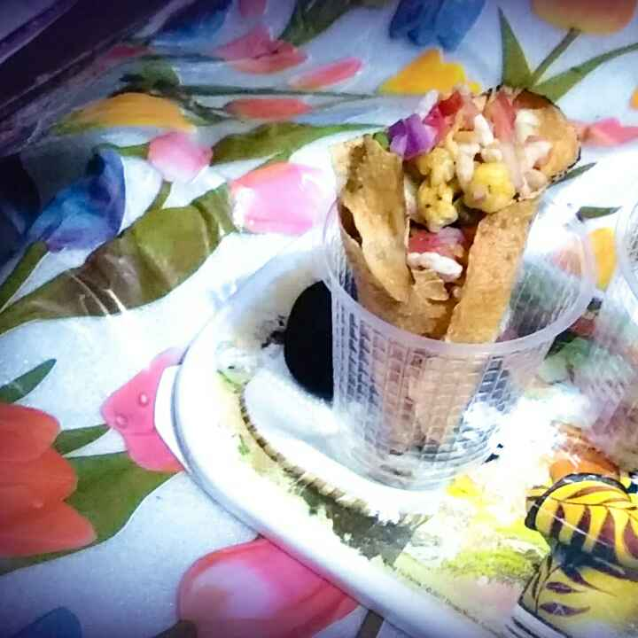 How to make Aloo Papad Cone chat