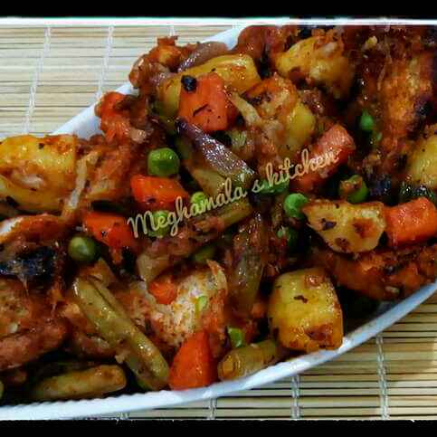 How to make Bread and vegetables mixed chaat