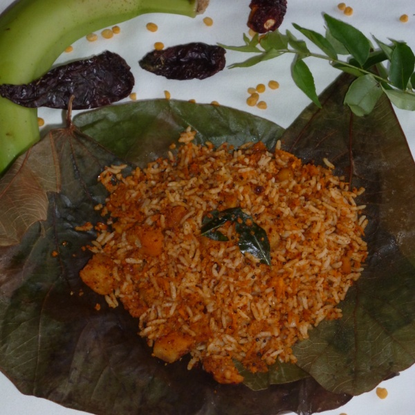 How to make Plaintain/Raw Banana Podi Rice