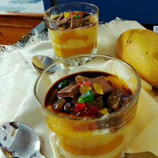 Photo of Mango- Vanilla- Custard topping with Dry fruits and Chocolate by Moumita Nandi at BetterButter
