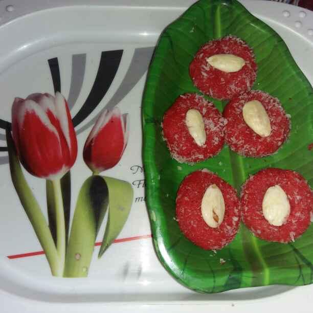 How to make Coconut strawberry peda
