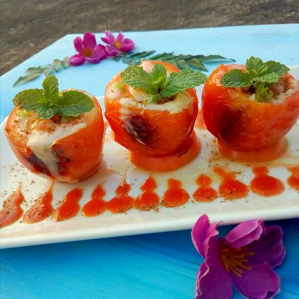 Photo of Cheesey- garlicky fish stuffed roasted tomatoes by Nahida Akter at BetterButter