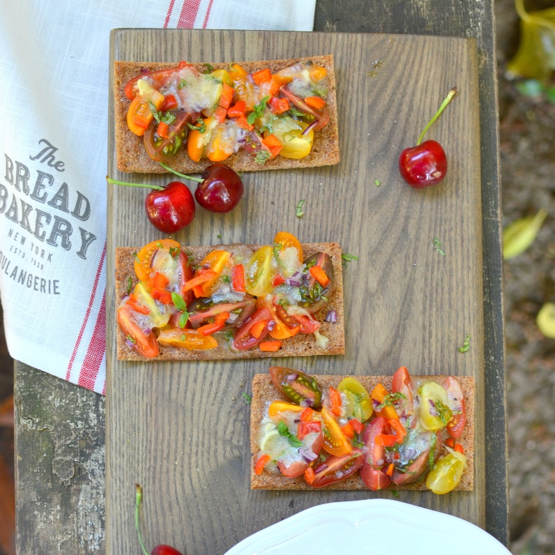 How to make Rye Crispbread Bruchetta with Truffle Brie and Sweet Peppers
