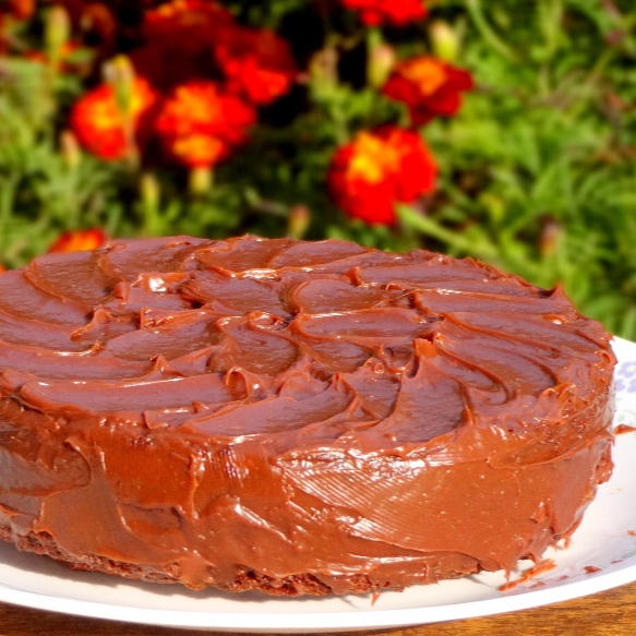 How to make Egg less Dark Chocolate Cake with Ganache Glaze