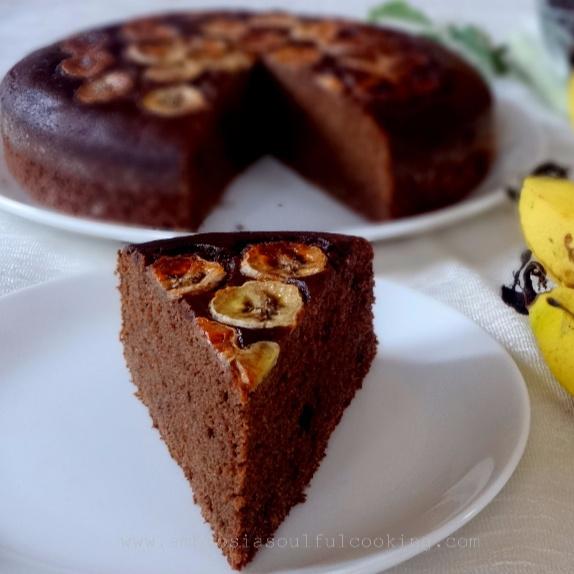How to make Eggless Olive Oil Banana Chocolate Coffee Cake