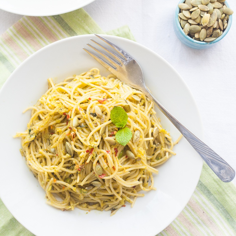 Photo of Spaghetti with Nutty Avocado Mint Pesto by Nandita Shyam at BetterButter