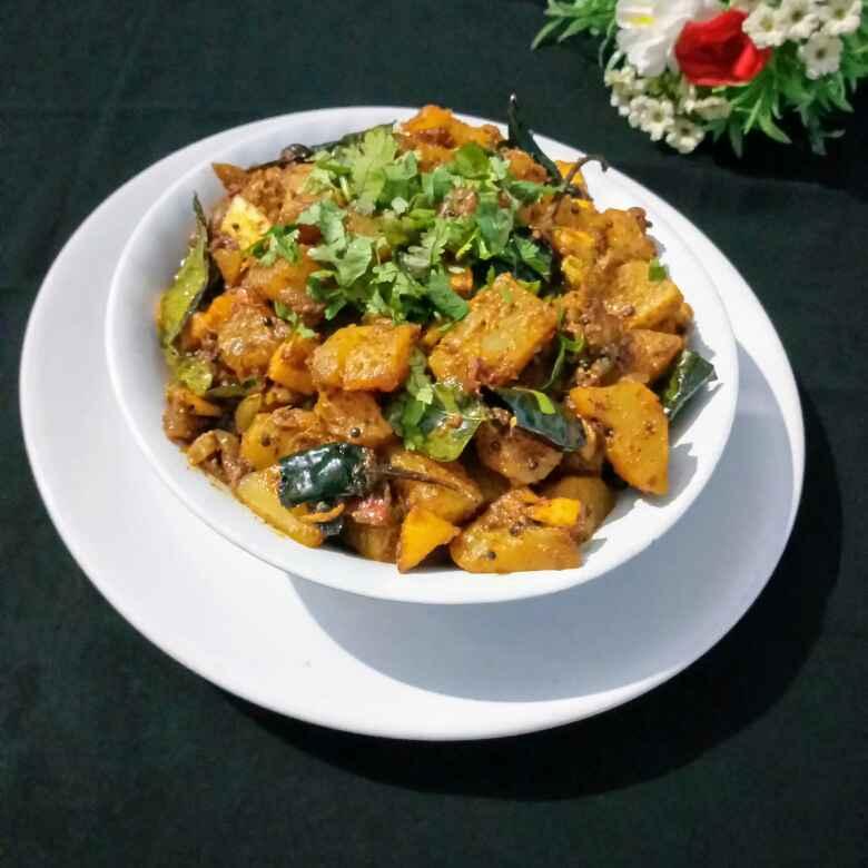 Photo of Raw papaya masala roast ( chicken style) by Navas Banu L at BetterButter
