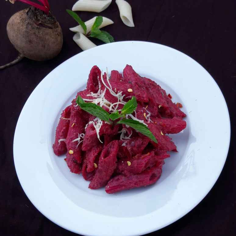 Photo of Pasta In Beetroot Almond Pesto by Neelam Barot at BetterButter