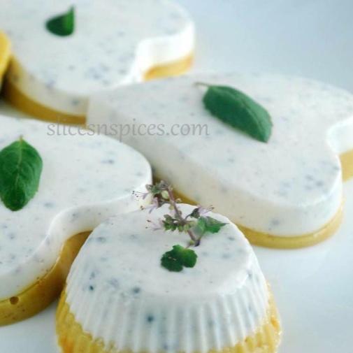 How to make Vanilla and Sweet Basil seed Panacotta with Mango base