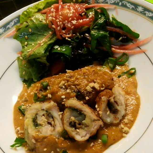 How to make Fish Roll with Tomato, Spinach and Mushroom Filling In Tomato, Mushroom, Peanut, Sesame Salsa Gravy Served with Kimchi(my version)